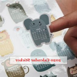 2020 Monthly Calendar Stickers - Cute Animal Pattern - Bulle