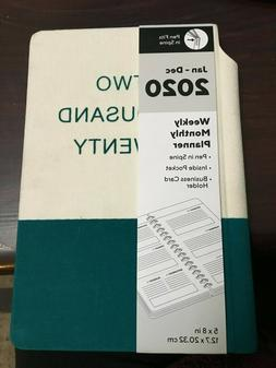 """2020 5"""" x 8"""" Small Weekly/Monthly Planner, Teal & White"""