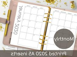 2020 A5 Monthly planner inserts, MONDAY start, Filofax A5, K
