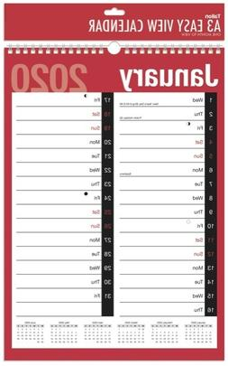 2020 Monthly Wall Planner A3 Calendar One Month to View Spir