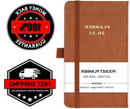 2020 Pocket Planner Weekly Monthly Calendar Leather Organize