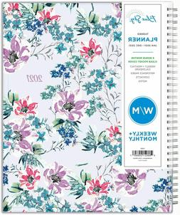 Blue Sky 2021 Weekly & Monthly Planner,Colorful Floral Flexi