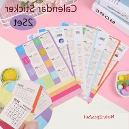2Set 2020 Calendar Stickers Notebook Monthly Category Planne