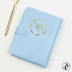Leather Journal With Initials Monogram Planner Undated Month