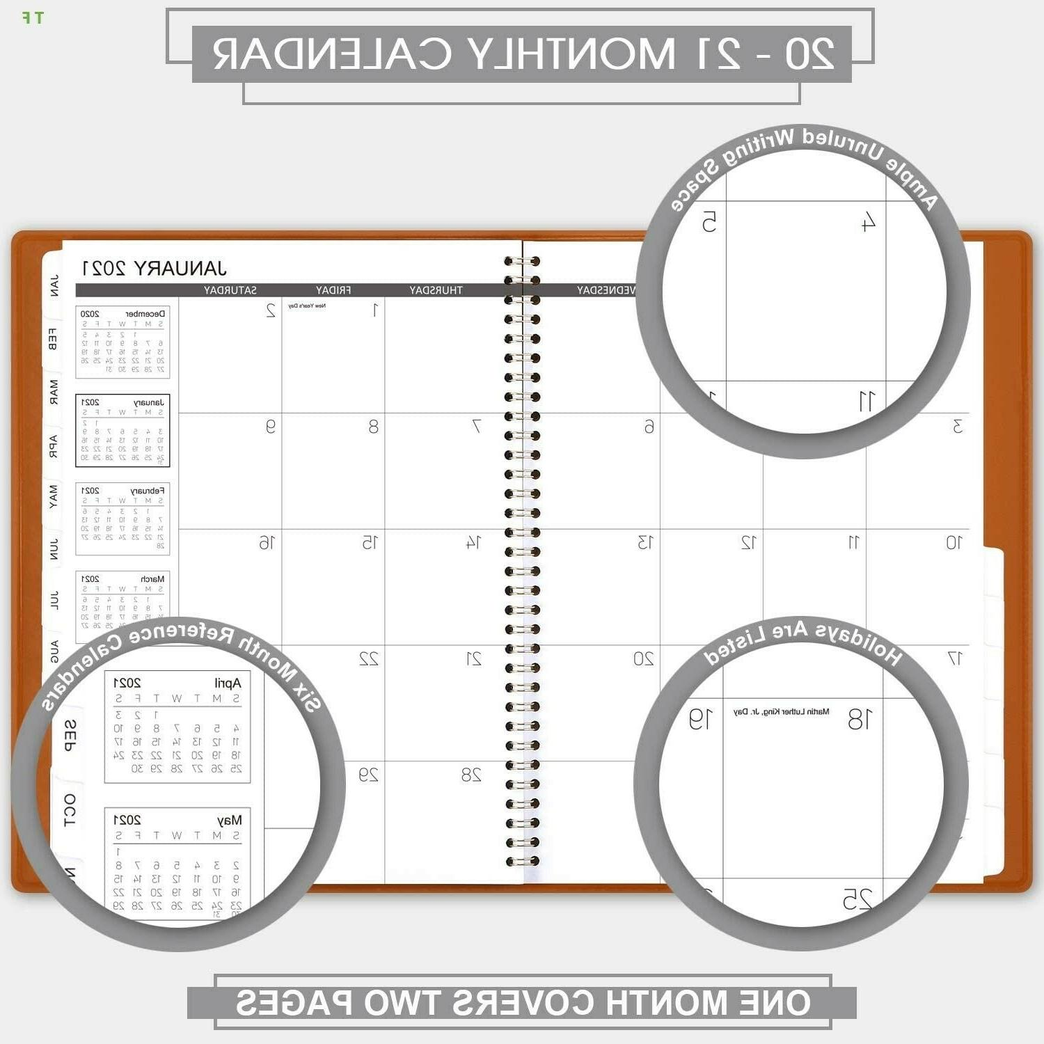 """2020-2021 Monthly Planner 18 Months Faux Leather, 8.86"""" x 11.4"""","""