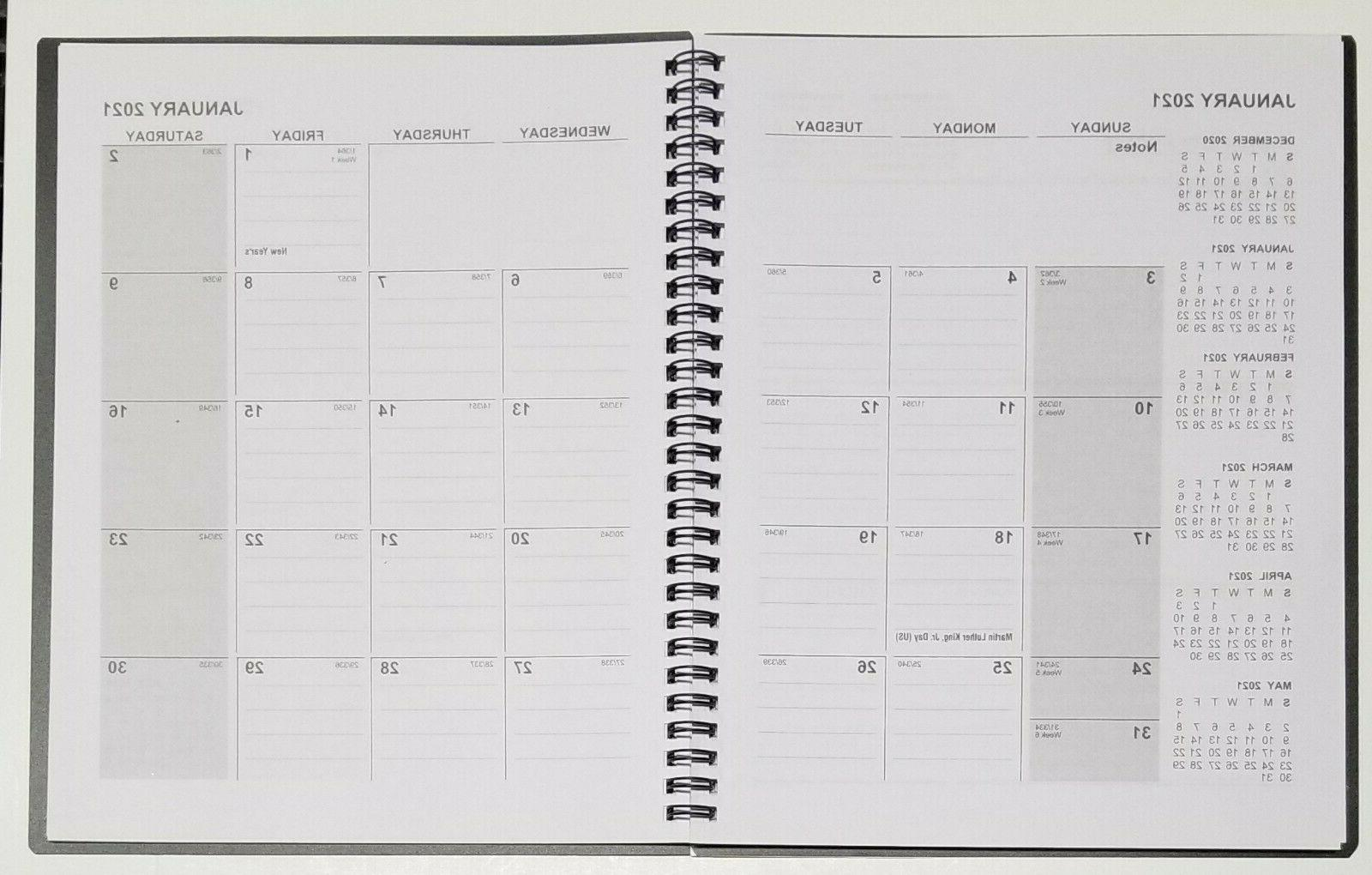 2021 Weekly/Monthly Spiral planner with Cover - in x