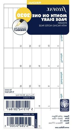 Filofax Personal Size 2020 Month On One Page Diary with Note
