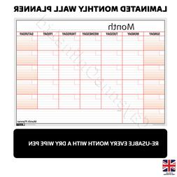 Reusable Monthly View Dry Wipe Wall Planner Notes Dates Work