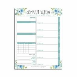Teal Undated Weekly Family Calendar Planner Pad, Mom Monthly