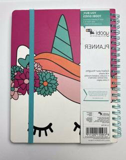 """Yoobi Unicorn Weekly Monthly Planner With Notes Pages 7.75""""x"""