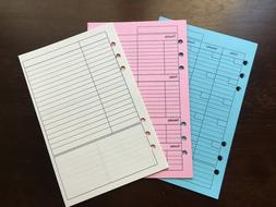 WEEKLY MONTHLY NOTES Undated Refill for A5 6-Ring Planner Or
